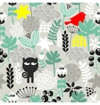 Seamless pattern with black cat hunting vector image vector image