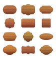 set of different shapes with wooden vector image vector image