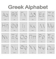 set of monochrome icons with greek alphabet vector image