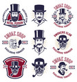 set of smokers club emblems vintage gentlemans vector image vector image