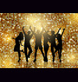 silhouettes of people dancing on glittery gold vector image vector image