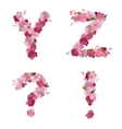 Spring alphabet with cherry flowers YZ and signs vector image vector image