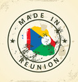 Stamp with map flag of Reunion vector image vector image