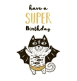 Super Hero cat drawing for greeting card or tee vector image vector image