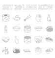 sushi and seasoning outline icons in set vector image vector image