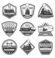 vintage monochrome locomotive labels set vector image