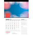 wall calendar planner template for august 2018 vector image