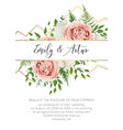 wedding floral modern invite invitation card desig vector image vector image