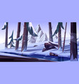winter forest with frozen pond nature landscape vector image
