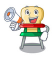 with megaphone character baby eat on highchair vector image vector image