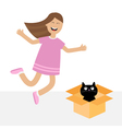 Girl jumping Gift box with black little cat animal vector image
