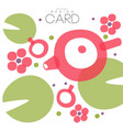oriental flowers leaves and lteapot card with vector image