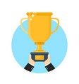 hand with gold trophy cup flat vector image