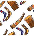 australian symbols boomerangs horn and tom tom vector image vector image