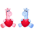 bagiraffes holding hearts vector image vector image