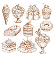 bakery shop sketch icons of pastry desserts vector image vector image