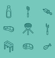 bbq color outline isometric icons vector image vector image
