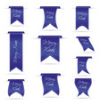 Blue hanging curved ribbon banners set for merry