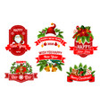 christmas 2018 new year greeting icons vector image