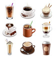 Coffee drinks icons set vector image