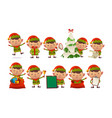 collection of happy cute christmas elf isolated vector image vector image