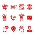 collection red flat sos icons or symbols vector image vector image