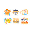 cooking logo and labels design set vector image