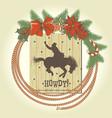 cowboy christmas wreath with western cowboy lasso vector image vector image
