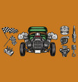 custom car and auto parts concept vector image vector image