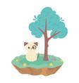cute dog domestic animals cartoon standing meadow vector image vector image
