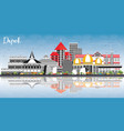 depok indonesia city skyline with color buildings vector image vector image