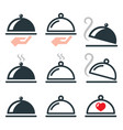dinner food platter meal icons set vector image