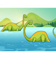 Dinosaurs standing in the river vector image