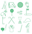golf sport simple green outline icons set eps10 vector image vector image