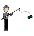hacker man character system thief holding banknote vector image