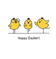 happy easter greeting card with easter chicks vector image
