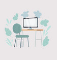 home office workplace desk chair and computer vector image