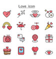 love color line icons vector image
