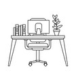 office desk with computer black and white vector image vector image