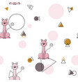 pink cute cat geometric pattern seamless pattern vector image vector image