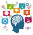 profile head brain thinking innovation vector image