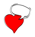 red heart shape with speech bubble vector image vector image