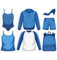 set blue outfit vector image vector image