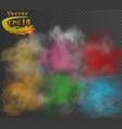 set multicolor smoke clouds on dark vector image