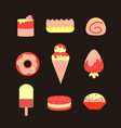 set of sweet food icons vector image