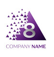 silver number eight logo in purple pixel triangle vector image