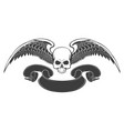 skull with wings and ribbon vector image vector image