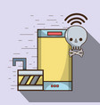 smartphone and skull with bones and wifi with vector image vector image