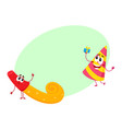 Smiling birthday party characters - spriped hat vector image