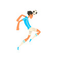 soccer player in white and blue uniform heading vector image vector image